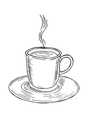 Hand-drawn illustration with a cup of coffee or tea.