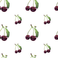 Seamless pattern. Hand drawn watercolor realistic illustration. Vinous cherry. Isolated on white background. Red berries. Juicy, fresh, eco-friendly.