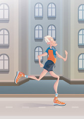 An elderly gray-haired man practice Jogging on city street. Active lifestyle and sport activities in old age. Vector illustration.