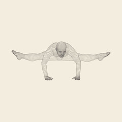 Hand standing pose. Man doing yoga exercises - handstand. Healthy lifestyle. Body stretching. Man practicing yoga.