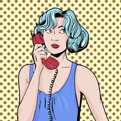 Woman with phone pop art retro vector illustration. Comic book