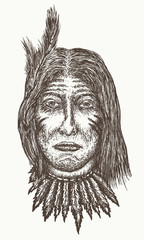Native american old man vector. North American Indian hand drawn portrait