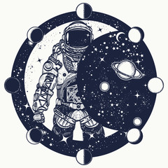 Astronaut in space tattoo. Cosmonaut in universe t-shirt design. Spaceman tattoo art. Symbol of science, astronomy, education
