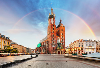 St. Mary's basilica in main square of Krakow with rainbow Wall mural