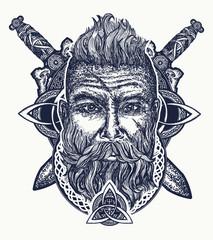 Viking tattoo, bearded barbarian of Scandinavia, crossed swords, god Odin. Symbol of force, courage. Scandinavian mythology, viking art print t-shirt design
