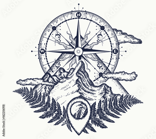 4f8265e936531 Mountains and compass tattoo. Symbol of tourism, rock climbing, camping.  Mountain top and vintage compass tattoo and t-shirt design