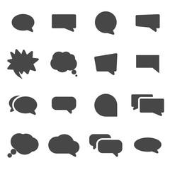 Vector black speech bubbles icons set