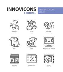 Football - modern color vector single line icons set