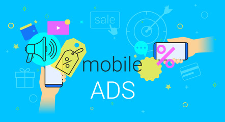 Mobile ads and marketing on smartphone creative concept vector illustration. Human hands hold smart phone with promo discounts and sale offer. Online advertising as web baners and search results