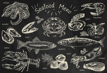 seafood menu, octopus, mussels, lobster, trout, shells, mackerel, crab, oyster, king prawns, shrimps, squid, salmon, calamari on chalkboard background