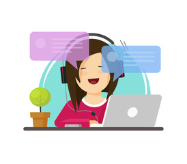 Happy girl working on computer on work desk font view vector, flat cartoon person character sitting on desktop table and chatting online, idea of freelancer workplace, online internet conversation