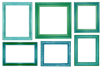 collection of vintage blue wood picture frame isolated on white