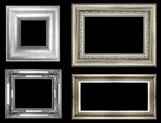 collection of silver vintage picture and photo frame isolated on white background