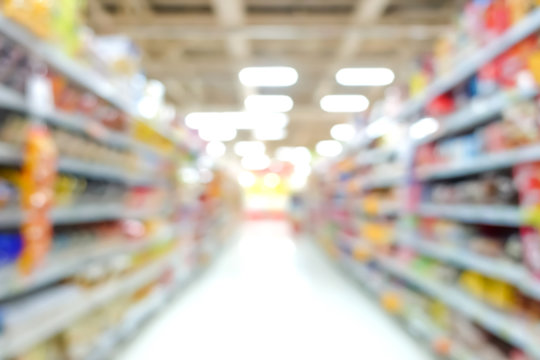 Blur image of aisle in supermarket