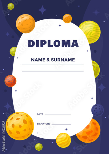 kids diploma for preschool or elementary school with background hand