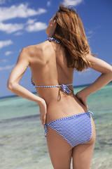 belle femme de dos  en bikini sur une plage de rêve