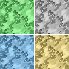 Military camouflage. Pixel texture. Collection of colored seamless patterns