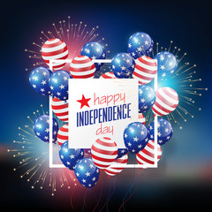 Flying Glossy USA flag pattern Balloons with 4th of July on firework, United Stated independence day, American national day concept, vector illustration