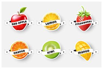 Set of orange, lemon, strawberry, kiwi, apple, mango juice,smoothie, milk, cocktail and fresh labels splash. sticker, advertisement concept vector illustration