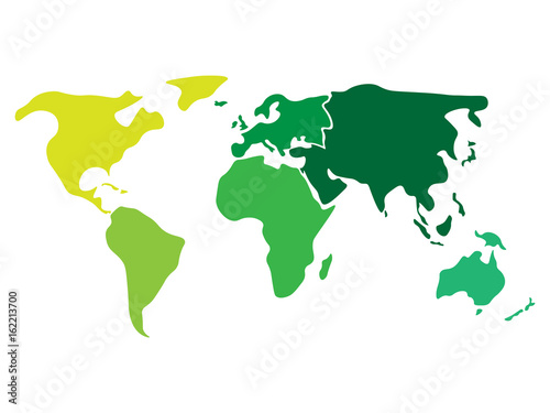 Multicolored world map divided to six continents in different multicolored world map divided to six continents in different colors north america south america gumiabroncs Choice Image
