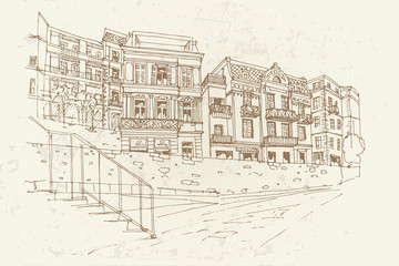 Vector sketch of street scene in Opatija, Croatia.