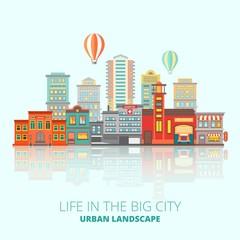 Foto op Plexiglas Blauw City Buildings Poster