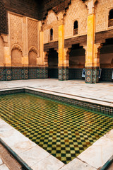 arab courtyard with ornaments, morocco