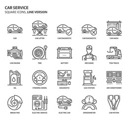 Car service service, square icon set