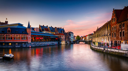 Beautiful view of Ghent old historical town in Belgium