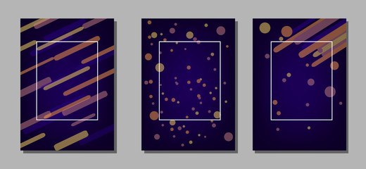 Set of artistic creative universal cards. Design for poster, card, invitation, placard, brochure, flyer.