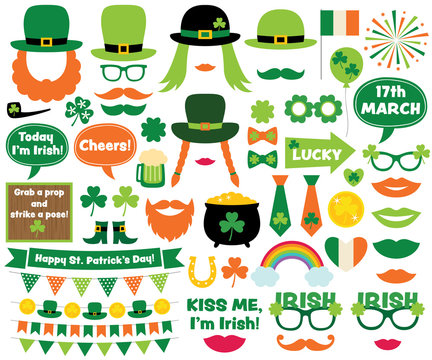 St. Patrick's Day design elements and photo booth props
