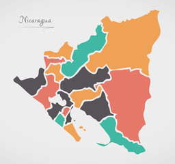 Nicaragua Map with states and modern round shapes