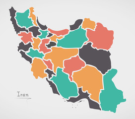 Iran Map with states and modern round shapes