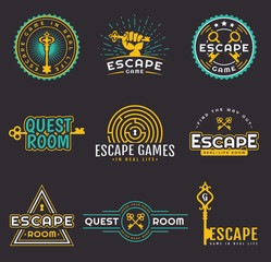 Quest room and escape game logo set.