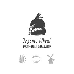 Hand drawn silhouettes. Bakery logo templates for craft food packaging or brand identity