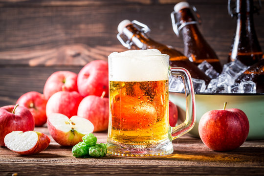 Fresh beer made from red apples and hops