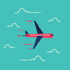 Airplane in the air,Transportation,vector illustration.