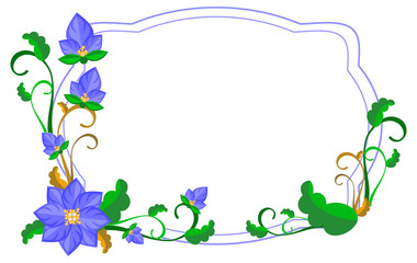 Decorative frame with abstract blue flowers. Vector clip art.