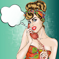 Sexy Pin-up woman answers a phone call. Vector pop art comic retro style illustration