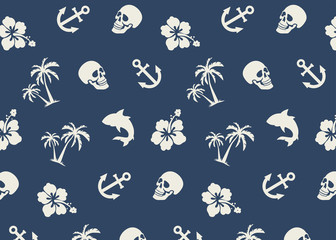 Seamless Tropical Beach Pattern