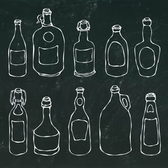 Set of Vintage Beer and Vine Bottles. Isolated on a Black Chalkboard Background. Realistic Doodle Cartoon Style Hand Drawn Sketch Vector Illustration.