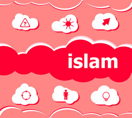 Text Islam on digital background. Social concept