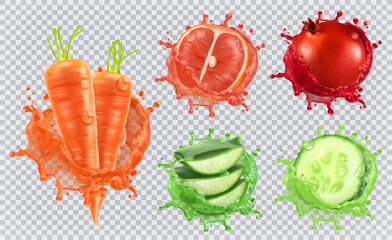 Aloe juice, carrots, grapefruit, pomegranate, cucumber. Health and care. 3d vector icon set