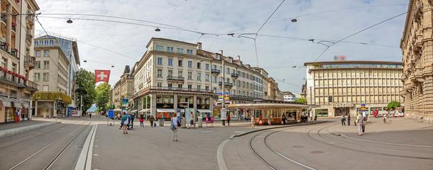 Paradeplatz Zurich, view from Bahnhofstrasse