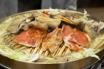 Raw beef slice for barbecue or Japanese style yakiniku