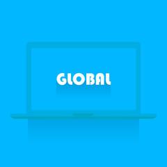 White laptop on blue background
