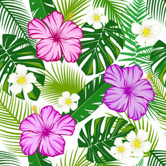 Seamless pattern green leaves with tropical hibiscus.
