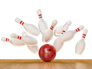 Wall Mural - bowling action scene