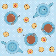 Seamless vector pattern with tea cups and cookies