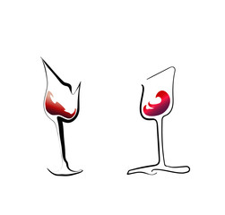 Two stylized red wine glasses